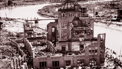 Los restos del edificio de la Prefectura Industrial de Hiroshima se conservaron como parte del conjunto de monumentos a la paz