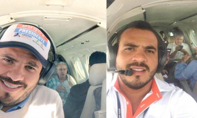 El piloto delo narco con el ex-presidente Álvaro Uribe y el presidente Duque
