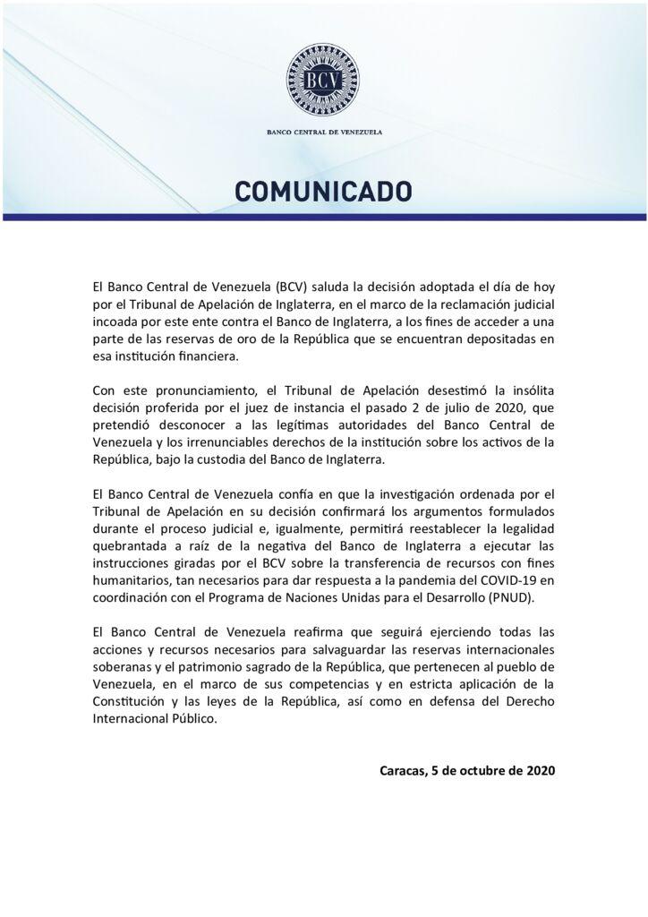 thumbnail of Banco-Central-de-Venezuela-saluda-decisión-del-Tribunal-de-Apelación-de-Inglaterra
