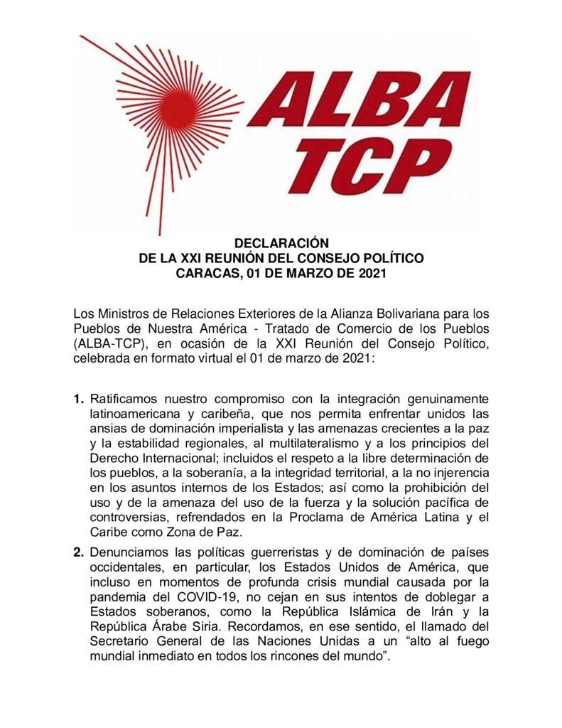 thumbnail of Declaracion-Conjunta-de-la-XXI-Reunion-del-Consejo-Politico-del-ALBA-TCP