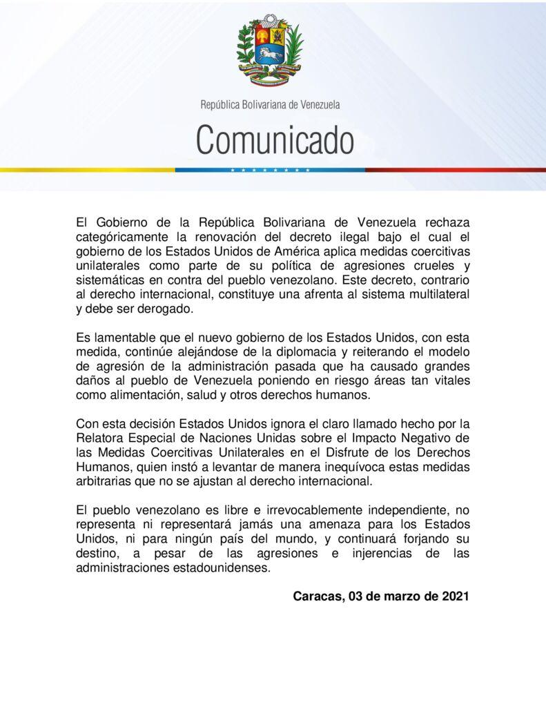 thumbnail of Venezuela-rechaza-categoricamente-renovacion-del-decreto-ilegal-bajo-el-cual-EEUU-aplica-medidas-coercitivas-unilaterales