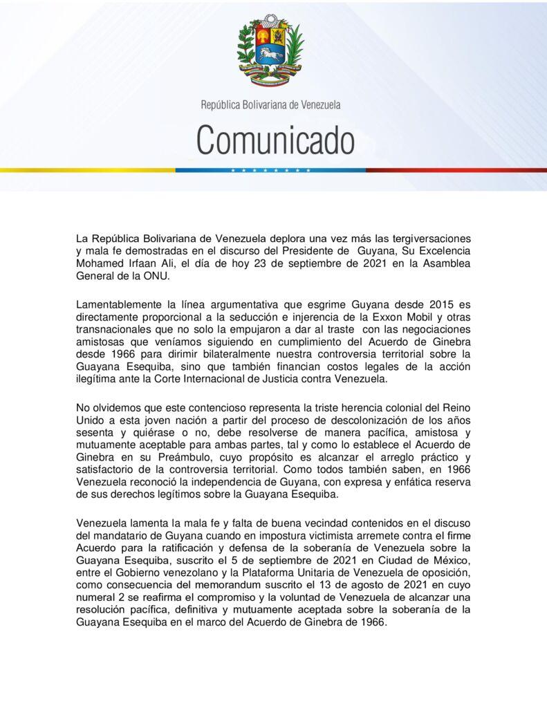 thumbnail of Venezuela deplora tergiversaciones del presidente guyanés en 76ª Asamblea General de la ONU